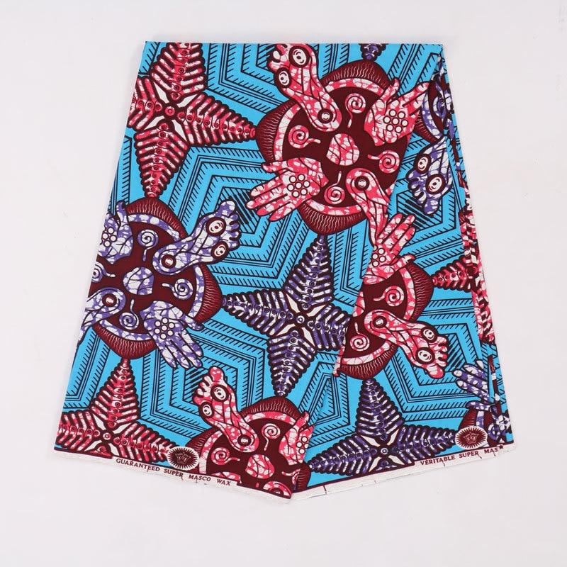 2019 New Arrivals African Nigeria Ankara Guaranteed Wax Blue And Red Printed Fabric 6Yards\Lot