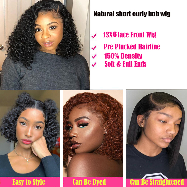 Short Curly Bob Wig 13×6 Kinky Curly Lace Front Human Hair Wigs for Black Women Brazilian Pre Plucked 360 Lace Frontal Wigs Remy