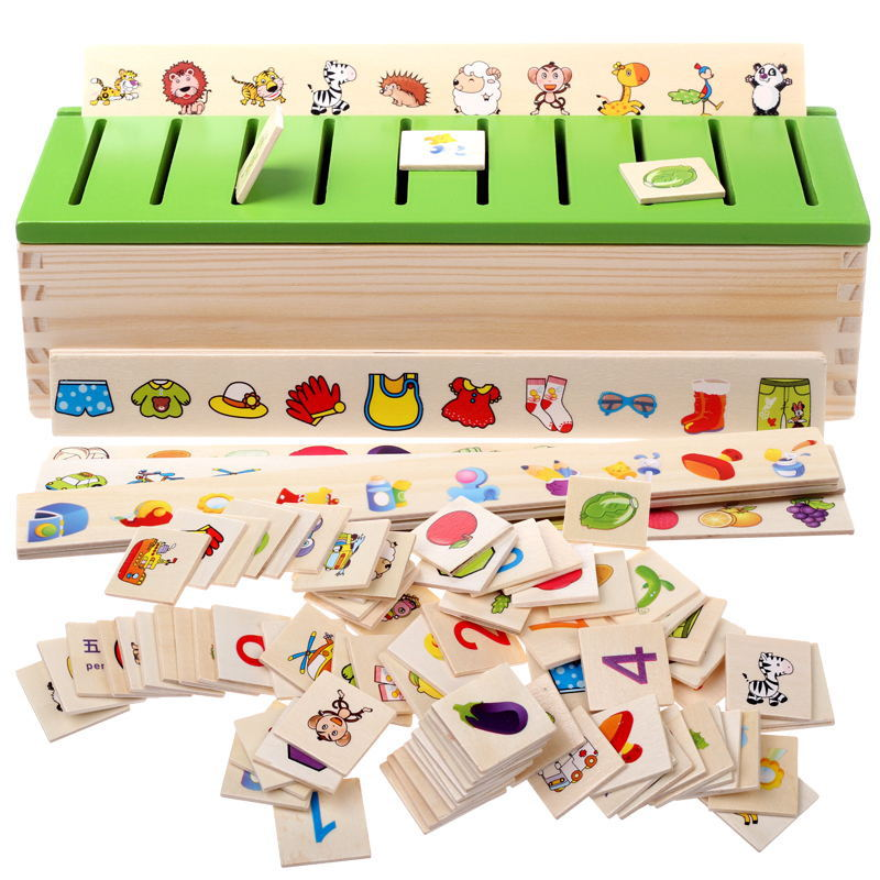 Montessri Wooden Toys Puzzle Kids Early Learning Toys Educational Wood Toys Shape Classification Box Fruit Character Recognition