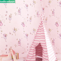Cartoon cute pink flower fairy anime pattern non woven wallpaper living room bedroom children room TV sofa background wall paper