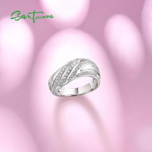 Image 4 - SANTUZZA Silver Rings for Women Engagement Wedding Ring White Cubic Zirconia Stone Pure 925 Sterling Silver Chic Fashion Jewelry