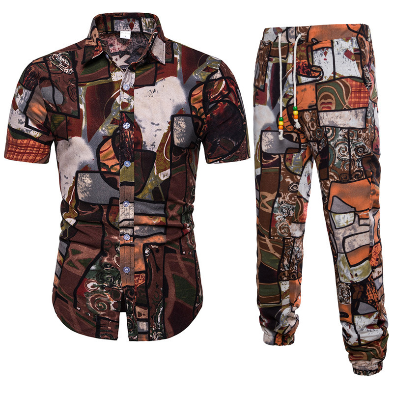 2019 Summer New Style Men Casual Fashion Printed Short-sleeved Shirt Trousers Set