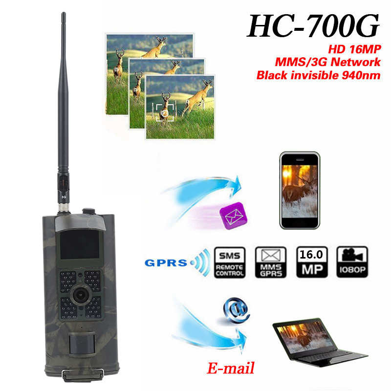 Hunting Camera 3G HC700G Newest Suntek HD 16MP Trail Camera 3G GPRS MMS SMTP SMS 1080P Night Vision 940nm Photo Traps Camera #ND