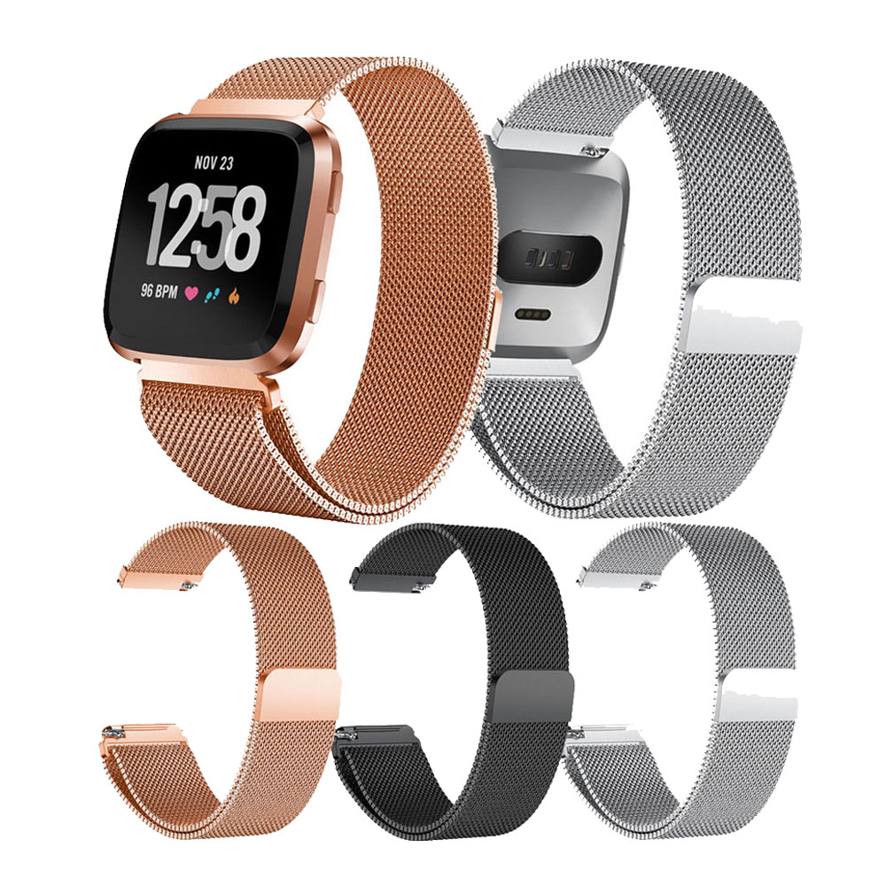 Metal Stainless Steel Band For Fitbit Versa Strap Wrist Milanese Magnetic Bracelet Fit Bit Lite Verse 2 Watch Band Accessories