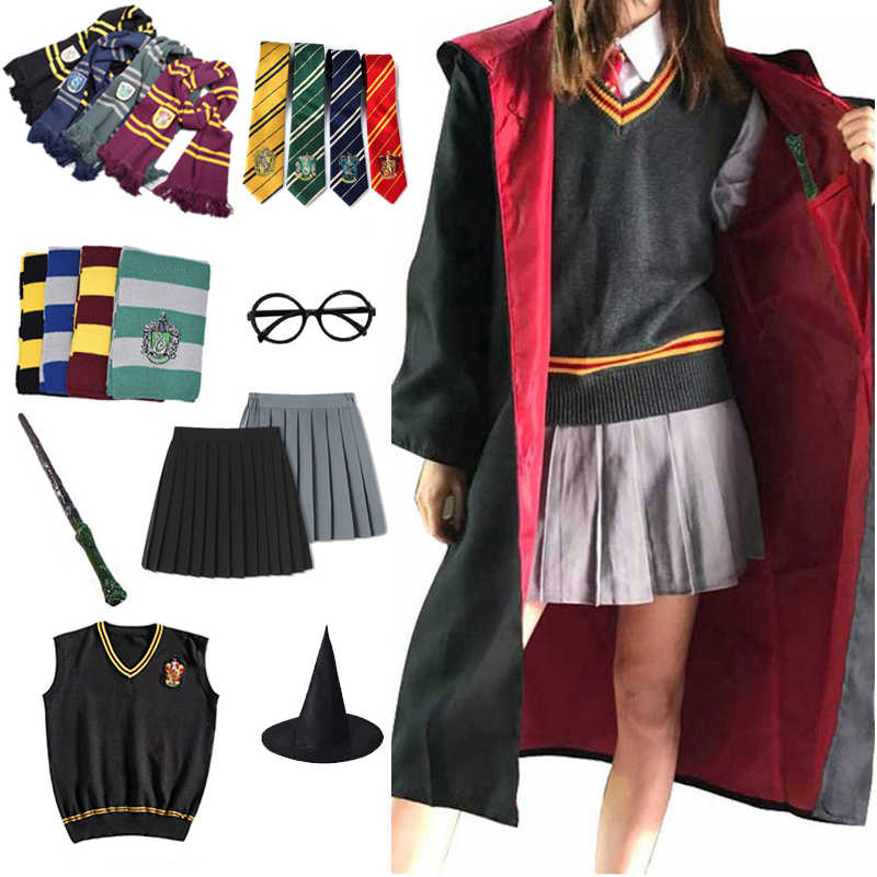 Gryffindor Slytherin 매직 망토 포터 코스프레 의상 로브 케이프 Hermione Granger Cosplay Potter Ravenclaw Hufflepuff Costume