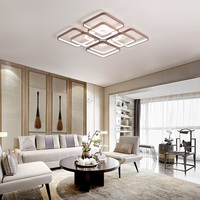 Luces de techo cuadradas modernas led para sala de estar dormitorio blanco + Color café hogar Led lámpara de techo lampara techo AC110V AC220V Luces para el techo     -