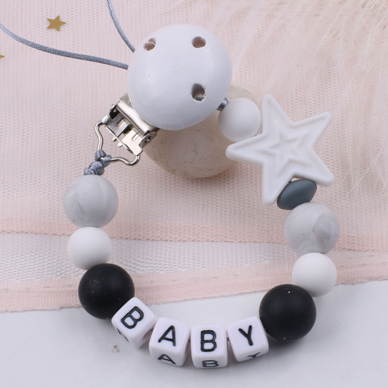 Personalized Name Five Star Silicone Pacifier Clips Holder Chain BPA Free DIY Anti-drop Dummy Clip Baby Accessories