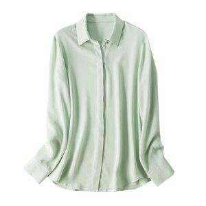 Image 5 - Suyadream mulheres blusas de seda 100% real seda sólida manga comprida botão básico escritório senhora blusa camisa 2020 chique camisa