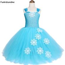 Sky Blue Girls Elsa Tutu Dress Snowflake Tulle Princess Dress Kids Birthday Party Dress Girls Halloween Christmas Costumes 2 12Y