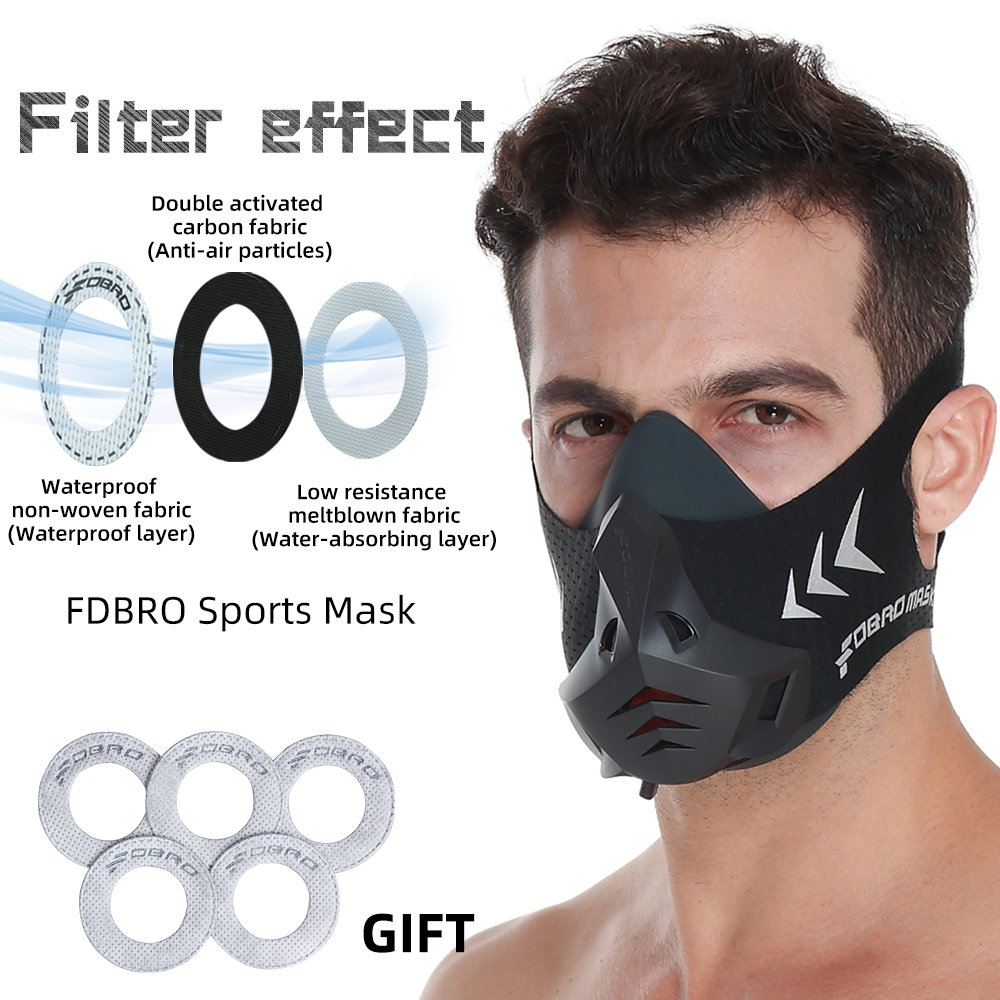 FDBRO New Sports Mask Pro Phantom Training Running Mask Cardio High Altitude Protective Breathing Trainer Air Filter Sport Masks