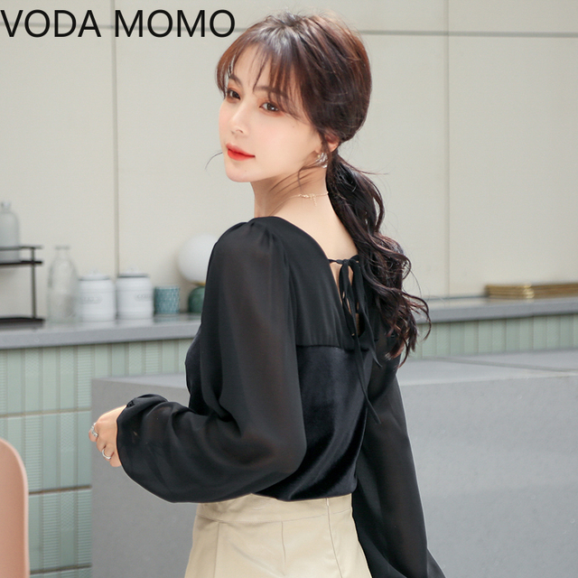 2021 spring velvet patchwork women's shirt blouse for women blusas womens tops and blouses chiffon shirts ladie's top plus size 2