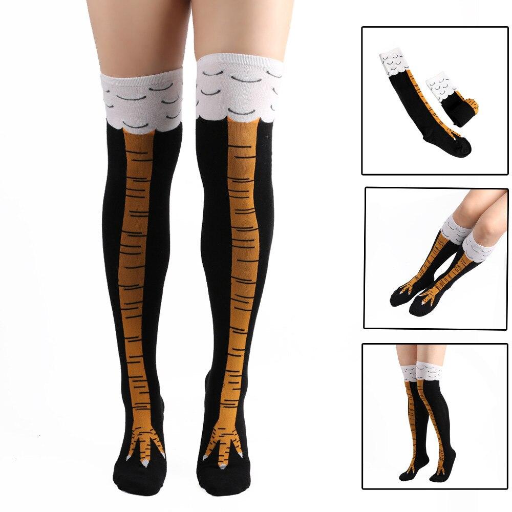 Socks Creative Chicken Printed Women Over The Knee Socks Cartoon Cotton 3D Print Funny Floor Socks носки женские Drop Ship ##4