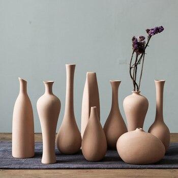 Minimalist Nordic Home Decoration Plain Vase Ceramic Art Chinese Vases Ancient For Flowers Rustic Elegant Simple Porcelain ceramics blue and white porcelain ceramic vase fashion chinese style rustic porcelain flower