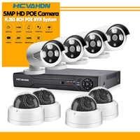 HCVAHDN 8CH 5MP POE NVR Xmeye CCTV System 4.0MP Indoor Outdoor PoE IP Camera IR Night Vision Video Security Surveillance Kits