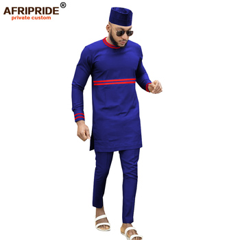2019 African Men Clothing Traditional 3 Piece Set Dashiki Outfits Print Shirts+Ankara Pants and Hat Suit AFRIPRIDE A1916013 1