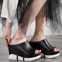 Punk Casual Shoes Women Genuine Leather Wedges High Heel Gladiator Sandals Female Open Toe Platform Pumps Shoes Fashion Sneakers choudory open toe high heel platform wedges mixed colors gladiator sandals buckle zipper leather fashion dunk low shoes woman