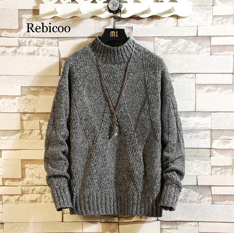 Men's Sweater High Lapel Pullover Sweater Men's Turtle Neck Fleece Sweater Men Clothes Winter Spring Fashion Clothes 3XL