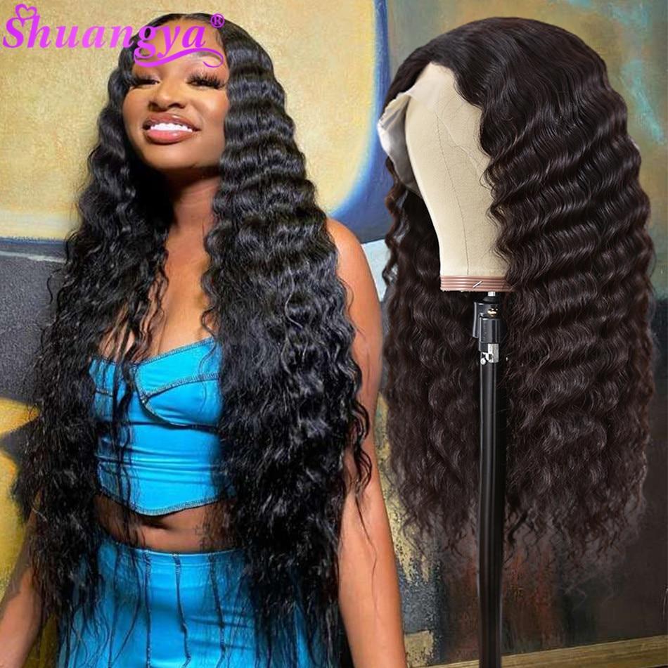Peruca dianteira do laço onda profunda solta peruca dianteira do laço shuangya remy brasileiro cabelo humano fechamento do laço perucas para preto