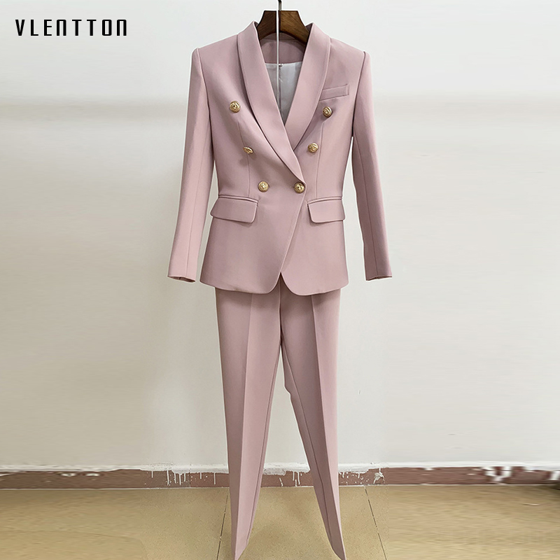 High Quality Two Piece Set Women Shawl Collar Lion Button Double Breasted Office Lady Blazer Coat+Nine Pants Suit Female Trouser