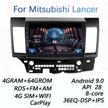 4 grama + 64g dsp 2 din android 9.0 4g reprodutor de vídeo dos multimédios da rádio do carro da rede para mitsubishi lancer 2008-2016 wifi bt carplay