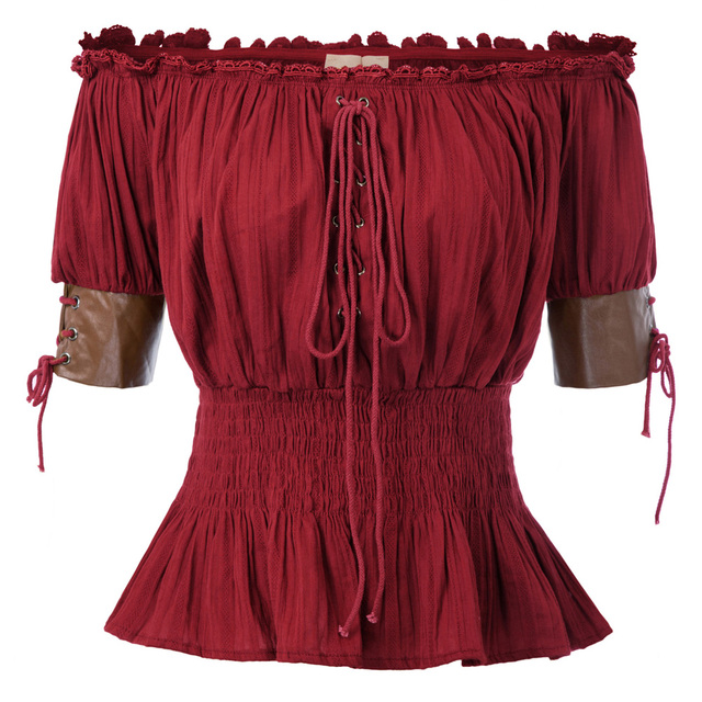 Belle Poque Summer Shirts Sexy Women Vintage Retro Steampunk Victorian Half Sleeve Off Shoulder Tops Solid Color New Gothic Lady 2