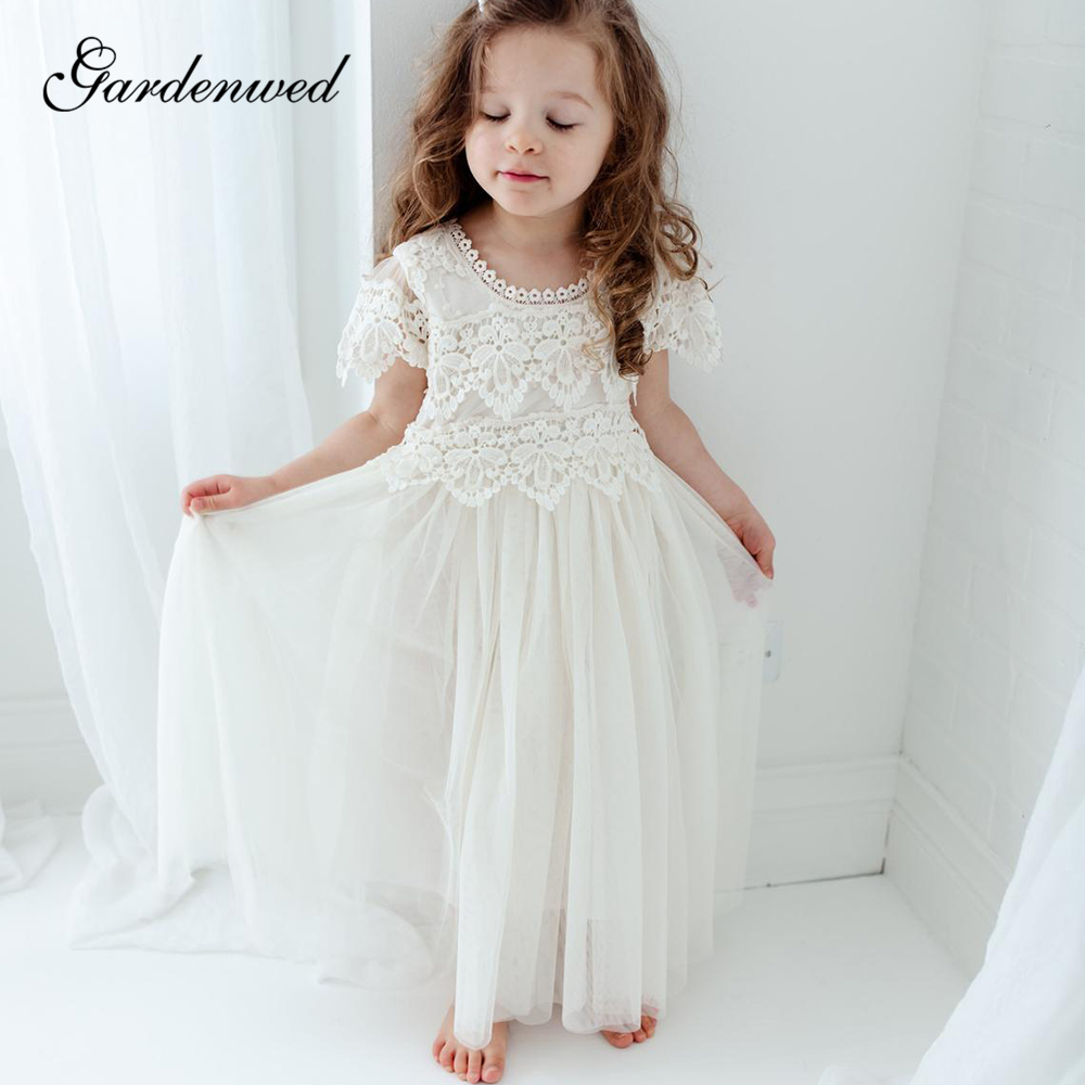 Ivory Boho Lace Flower Girl Dresses Simple O-Neck Tulle First Communion Dresses Cap Sleeves Long Girls Wedding Party Dresses
