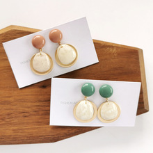 Beautiful Coffee Round Pattern Clip on Earrings No Pierced Street Snap Fashion Charm Earrings