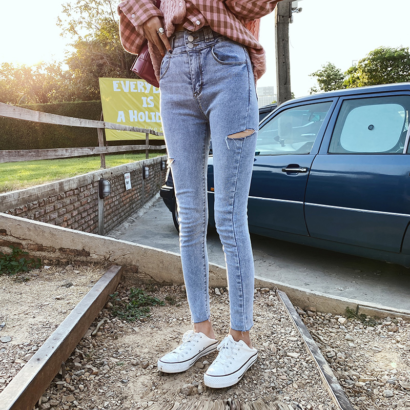 MISHOW 2020 Spring New Pencil-Jeans Women Skinny High Waist Demin Female Pants Ripped Holes Trousers MX20A2387