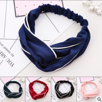 Cabeça de Cores Puras de Largura Lote Faça Você Mesmo Tecidos Multi Cruz Banda Headbands Styling Acessório Ha1110 60 Pçs –