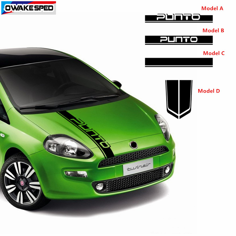 Car Hood Bonnet Stripes Auto Engine Cover Decor Vinyl Decals For-FIAT Punto ABARTH Racing Styling Stickers Exterior Accessories