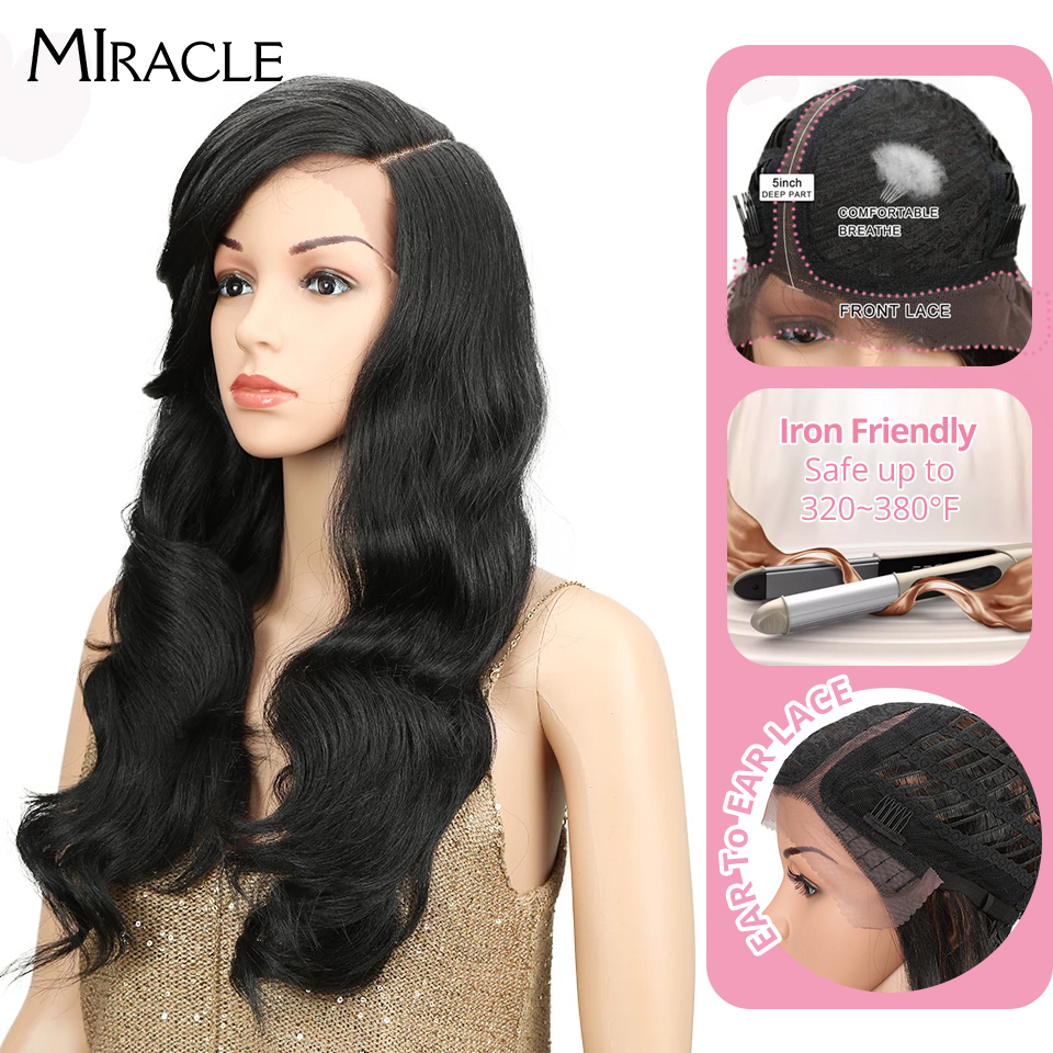 """Miracle 22"""" Long Loose Wave Equal Ombre Glueless Heat Resistant Wig 180% Heavy Density Synthetic Wigs For Black Women Synthetic Lace Wigs  - AliExpress"""