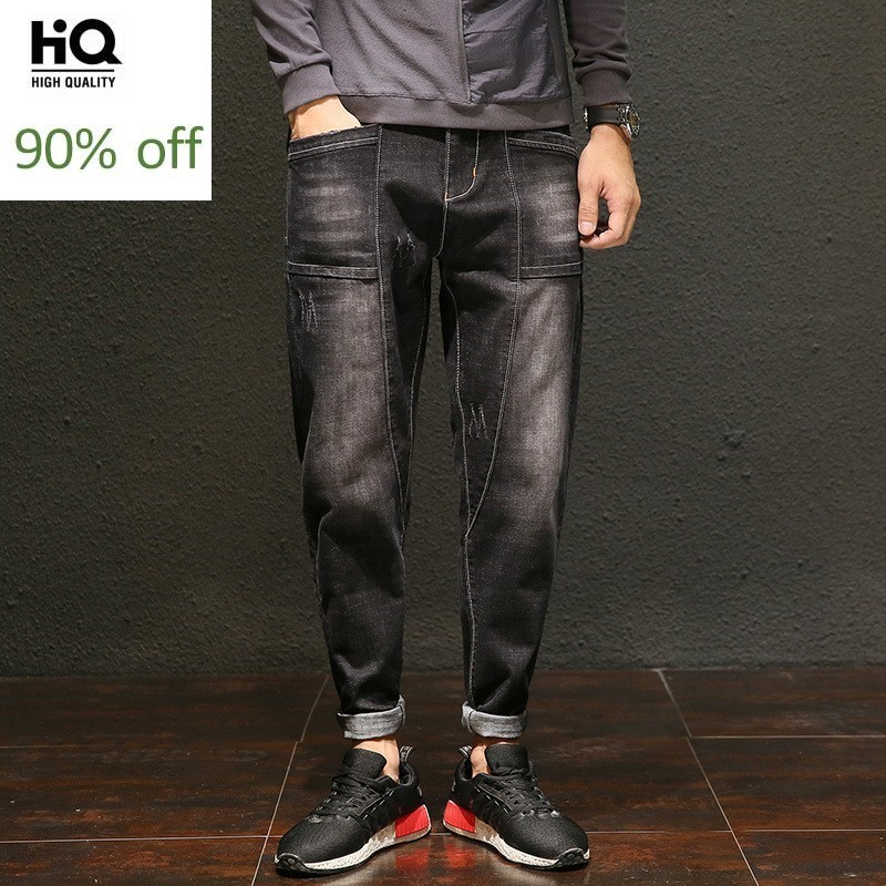 Japan Style Loose Fit Solid Denim Cross Pants For Men Spring Fall Plus Size Casual Scratched Long Jeans Homme Street Harem Pants
