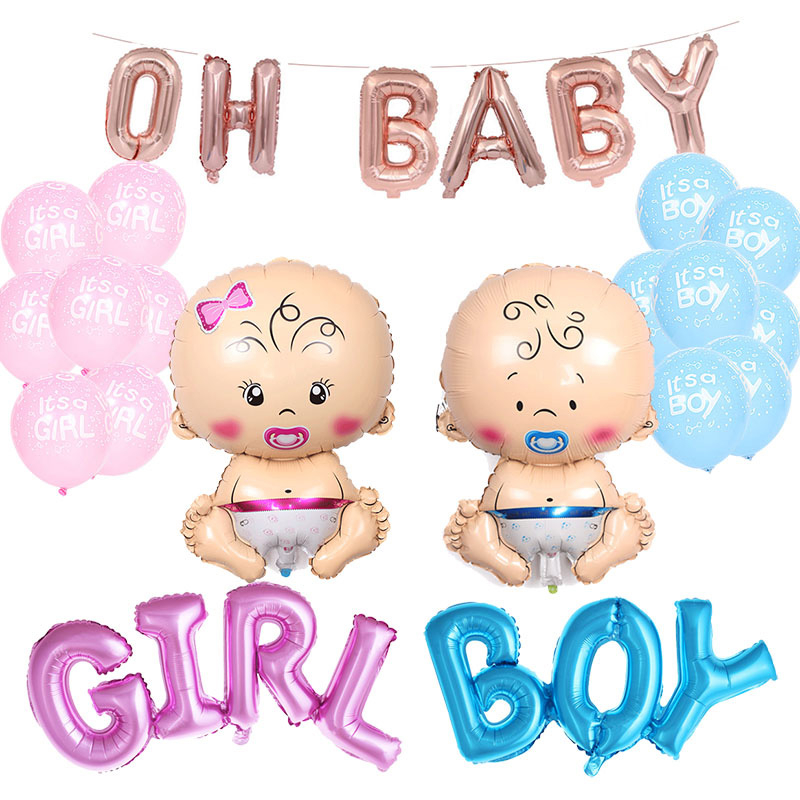 Gender Reveal Party Decorations Accessories Doll Letter Foil Balloons Pink Blue Boy Or Girl Latex Ballon For Baby Shower