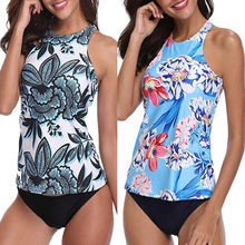 2020 Sexy Swimwear Women Tankini Plus Size Two Piece Swimsuit Swimming Suit Big Size Push Up High Neck Bathing Suit Femme XXL women s high neck racerback tankini top green leopard plus size swimwear for women tankini swimsuit vintage bathing suit female
