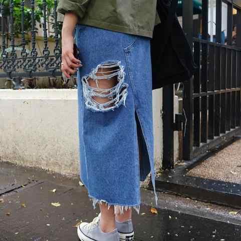 Frauen Split Vorder Loch Denim Rock 2020 Neue Mode Sommer Lange Bleistift Rock Frauen Blau Slit Hohe Taille Casual Rock AE625