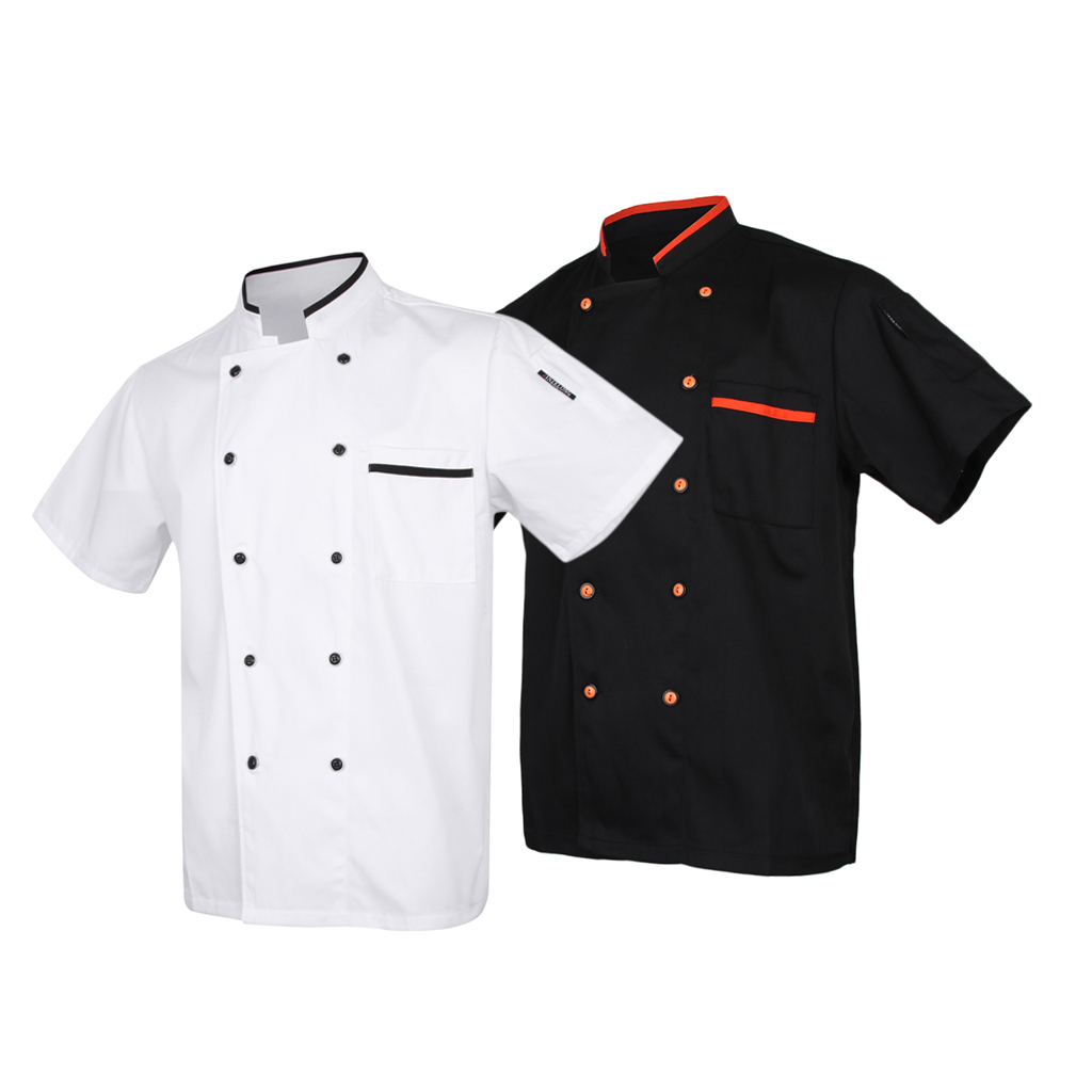 Men Women Short Sleeve Classic Chef Coat Coffe Jacket Summer Restaurant Cook Uniforms Food Service Work Apparel With Pockets