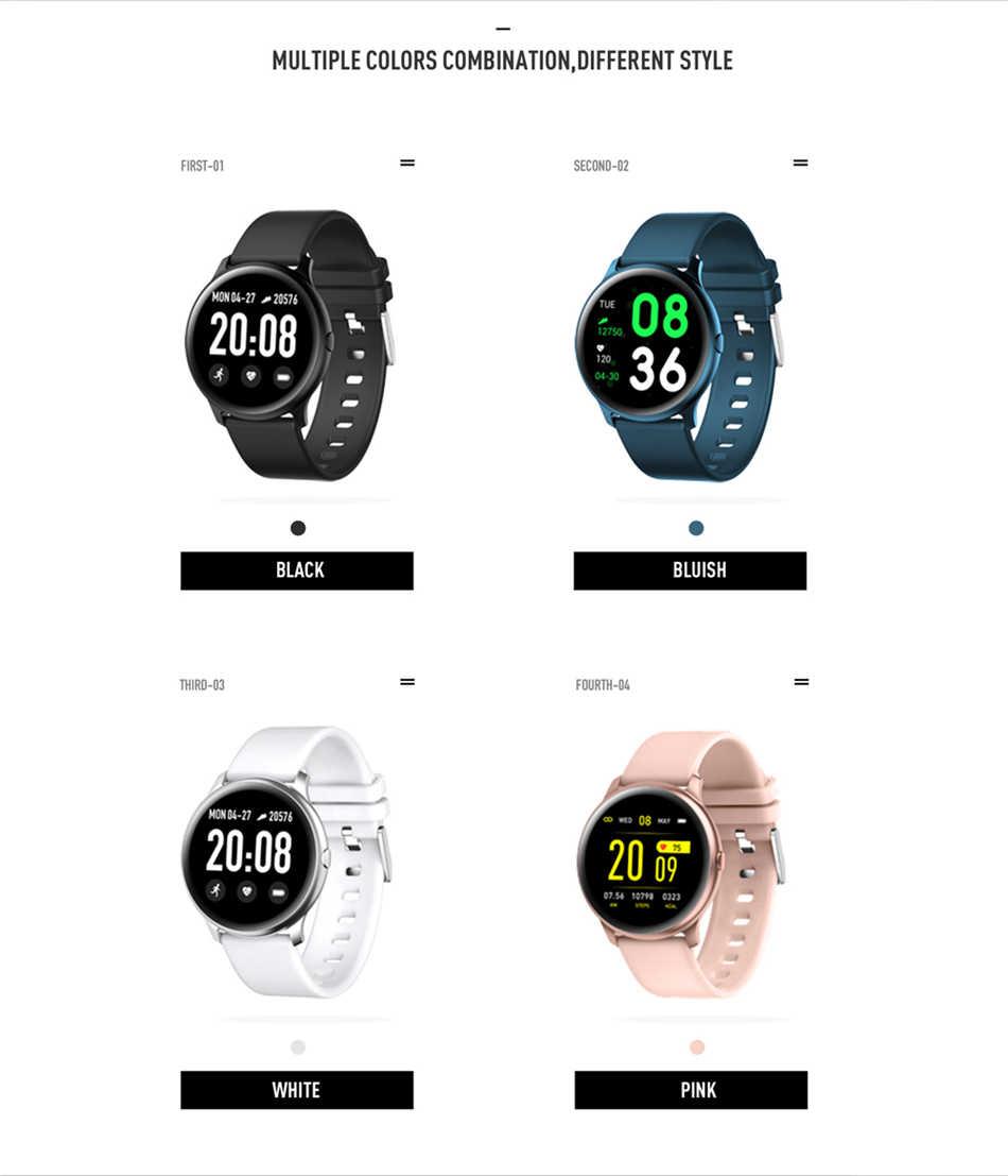 ساعة يد ذكية رياضية جديدة للنساء بشاشة ملونة موديل 2019 ساعة يد ذكية للرجال والنساء مناسبة لمتابعة اللياقة البدنية ومزودة بخاصية ضغط الدم ومعدل ضربات القلب في آيفون