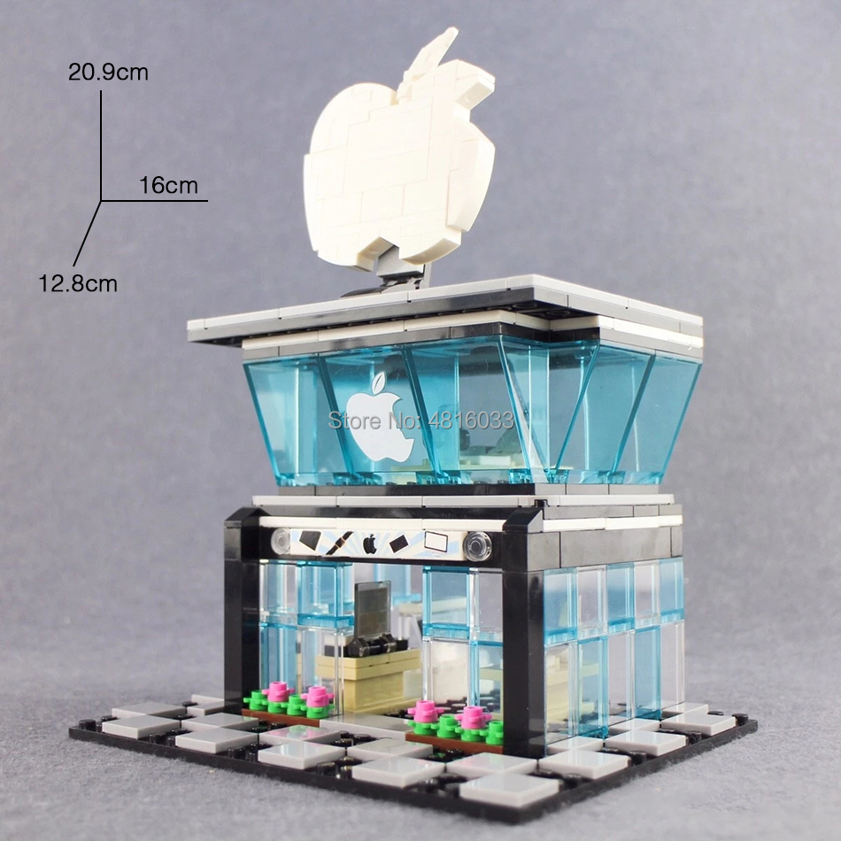 Apple Mobile Phone Store Compatible Legoinglys City Mini Street View With Mini Figures Street Shop Building Block Toys Kids Gift