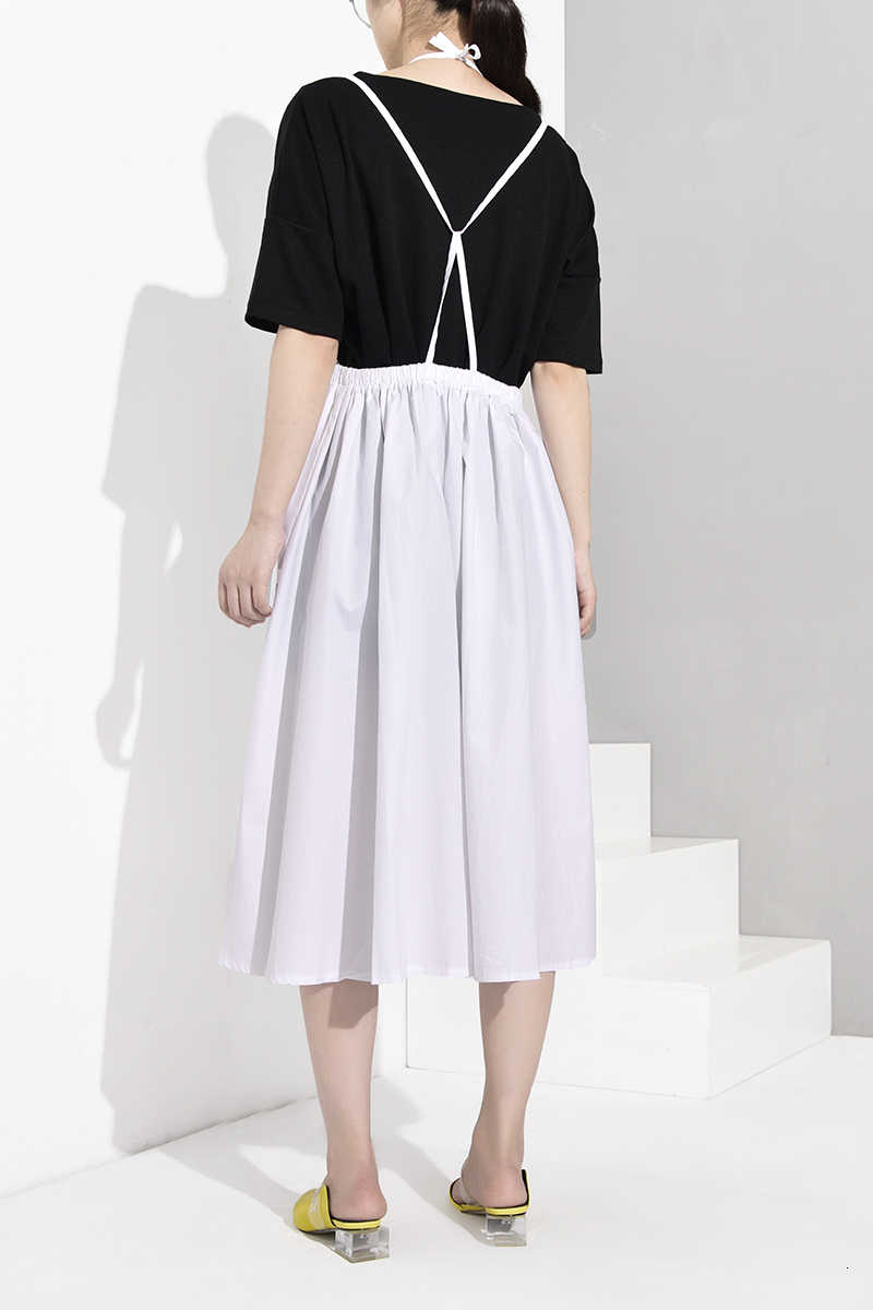 [EAM] белая бандажная юбка с высокой эластичной талией и большим подолом без бретелек, женская модная одежда, Новинка весна-осень 2019, WD8130