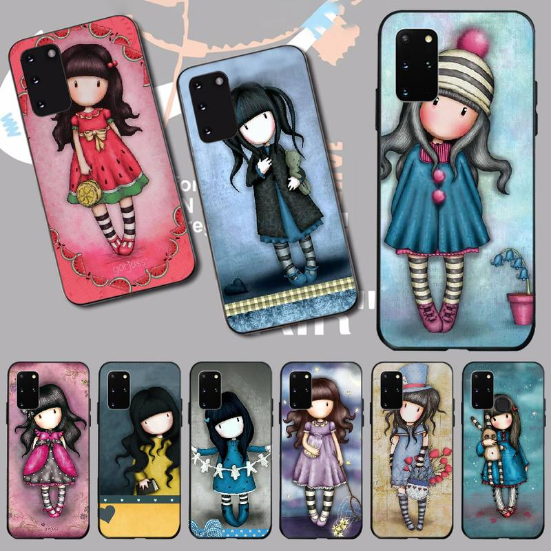 PENGHUWAN Cartoon Lovely Santoro Gorjuss Black Soft Rubber Phone Cover for Samsung S20 plus Ultra S6 S7 edge S8 S9 plus S10 5G(China)