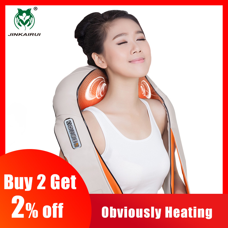 JinKaiRui Forma de U Massageador Elétrico Vibrando Shiatsu Amassar Volta Do Pescoço e Ombro Massagem de Aquecimento Infravermelho Corpo Massagem