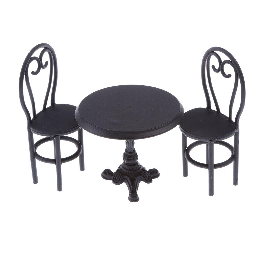 Bonecas casa cadeira de mesa preta brinquedos conjunto sala de jantar decoração 1/12 escala