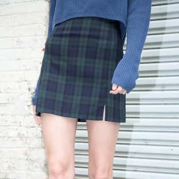 Women Lightweight Navy Blue And Forest GreenPlaid Print Mini Skirt With Two Small Front Slits Skirts
