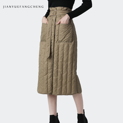 Women Winter Down Skirt High Waist A-Line Warm White Duck Down Skirts With Pockets Belt Lace-Up Plus Size Lady Casual Long Skirt