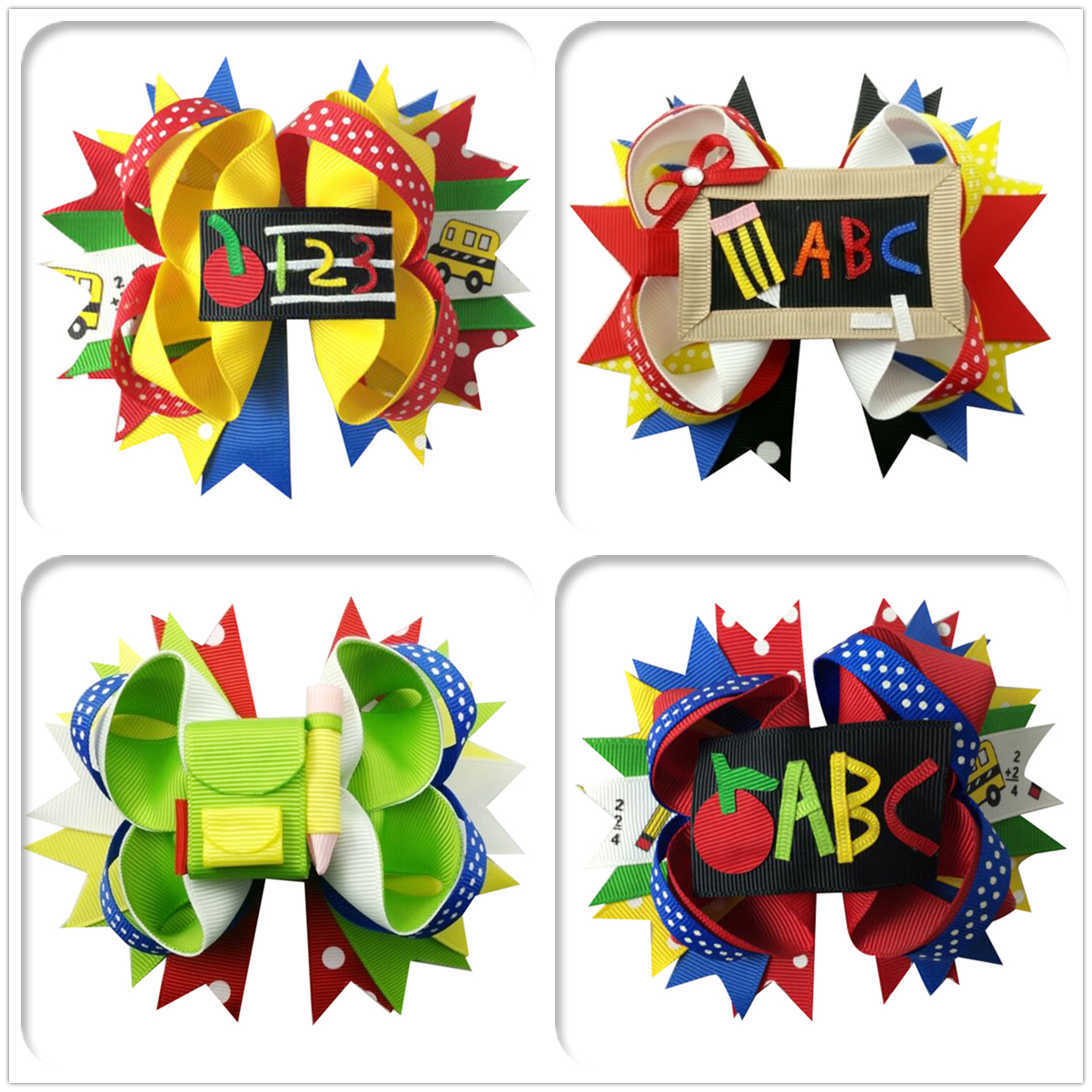5inch Popular Selling ABC Large Hair Bow Clip Hair Bows Bands Back To School Hair Accessories For Girl Hair Headdress