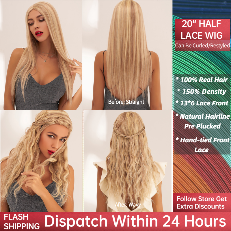 Neitsi Long Straight Half Lace Remy Human Hair Wigs 20'' 60cm 150% Denisty Women Light Blond Wigs With Baby Hair