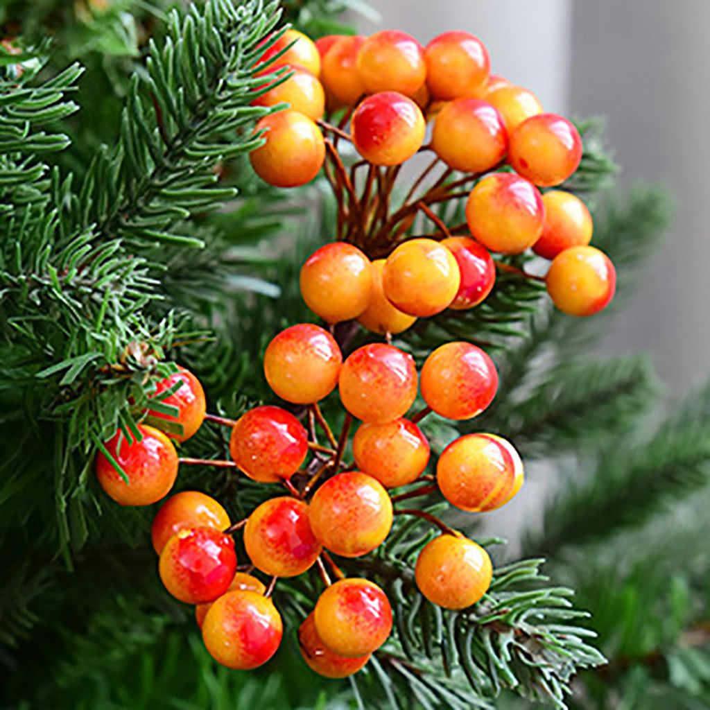 DIY Mini fruta Artificial flor estambre de cereza regalos para el nuevo año Navidad colgante árbol decoraciones baya Decoración