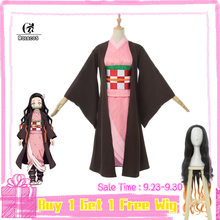 ROLECOS Anime Costume Demon Slayer Cosplay Nezuko Kimono Women Kimetsu no Yaiba Pink Halloween