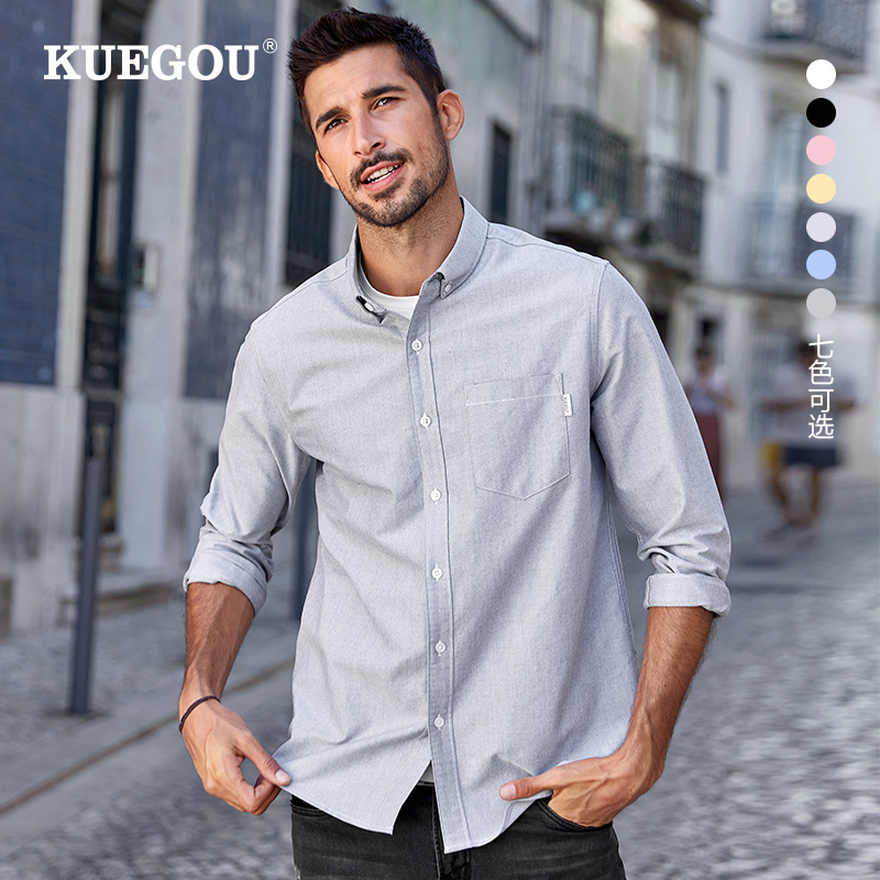 KUEGOU 100% cotton autumn Man's shirts Oxford fashion Business Casual quality shirt men long sleeve top clothing plus size 20524