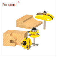 3 Bit Tongue and Groove Router Bit Set Wood Milling Cutter 8 mm Shank 1/4 High Quality Raised Panel Cabinet Door Router Bit Set|Knives| |  -